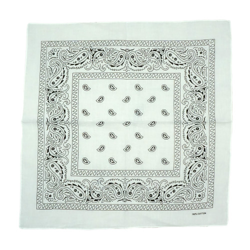 White 100% COTTON BANDANAS Paisley Square Head Scarf BPS001
