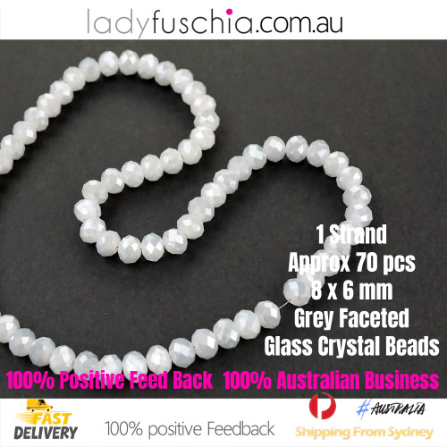 6x8mm Grey Faceted Flat Glass Crystal Beads