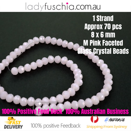 6x8mm Light Matte Pink Faceted Flat Glass Crystal Beads