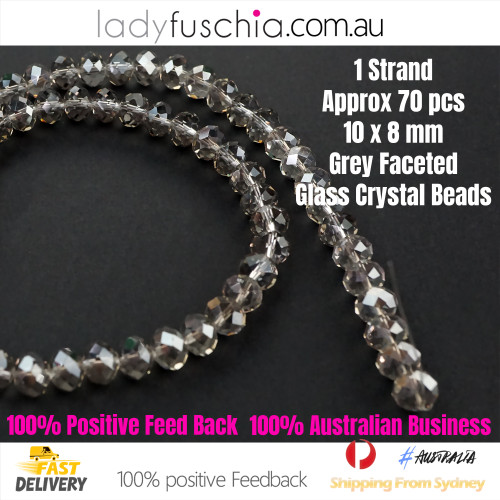 8x10mm Clear Grey Faceted Flat Glass Crystal Beads