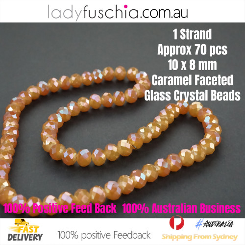 8x10mm Caramel Faceted Flat Glass Crystal Beads