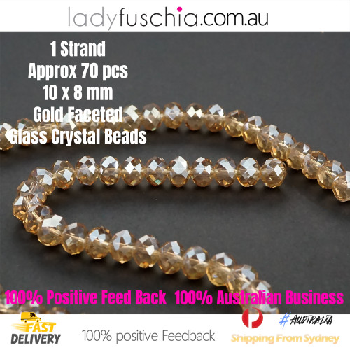 8x10mm Clear Gold Faceted Flat Glass Crystal Beads
