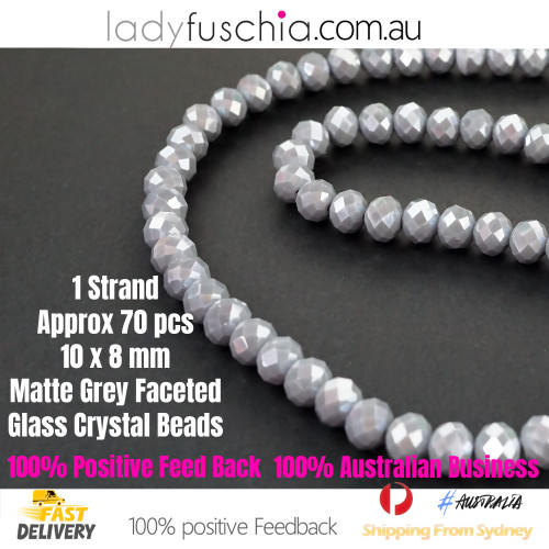 8x10mm Matte Grey Faceted Flat Glass Crystal Beads