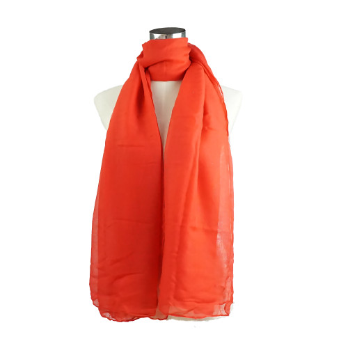 Plain Red Spring  Summer Lightweight Cotton Feeling Scarf SC9245