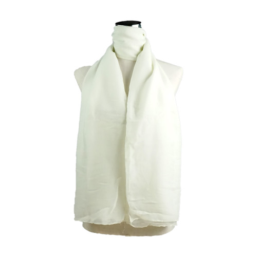 Plain Cream Spring  Summer Lightweight Cotton Feeling Scarf SC9245