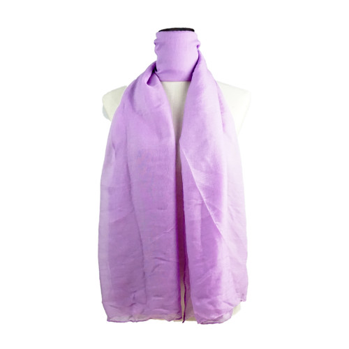 Plain Lilac Spring  Summer Lightweight Cotton Feeling Scarf SC9245