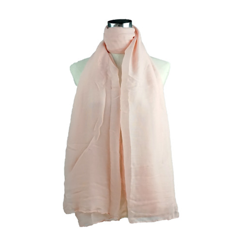Plain Pink Spring  Summer Lightweight Cotton Feeling Scarf SC9245
