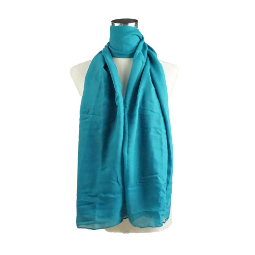 Plain D Teal Spring  Summer Lightweight Cotton Feeling Scarf SC9245