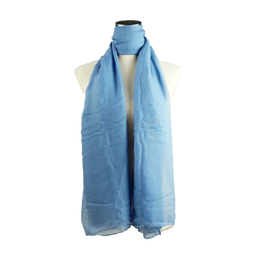 Plain Blue Spring  Summer Lightweight Cotton Feeling Scarf SC9245