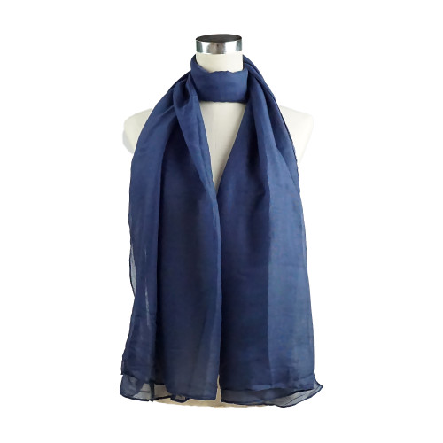 Plain NAVY Spring  Summer Lightweight Cotton Feeling Scarf SC9245