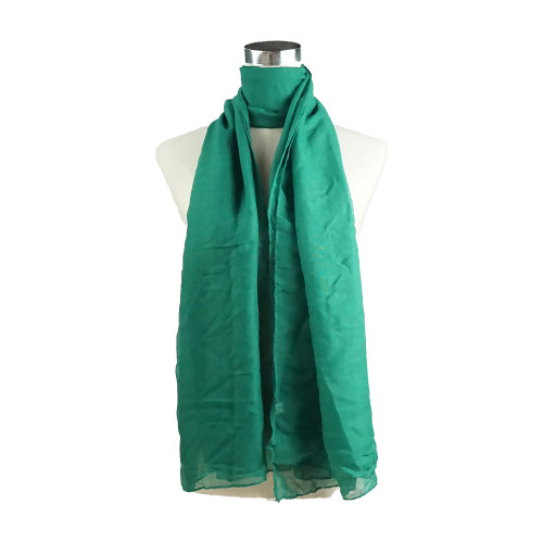 Plain D Green Spring  Summer Lightweight Cotton Feeling Scarf SC9245