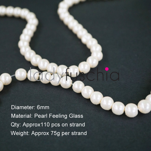 6mm White Pearl Feeling Glass Beads