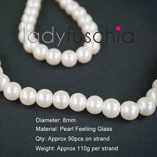 8mm White Pearl Feeling Glass Beads