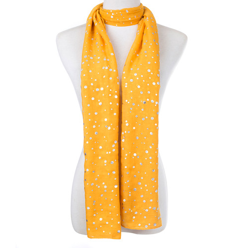Yellow Premium Silver Dot Scarf SC8735