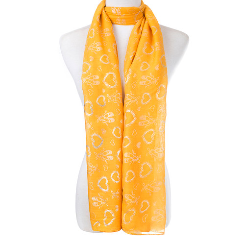 Yellow With Inset Bug Heart Foil Scarf SC8738