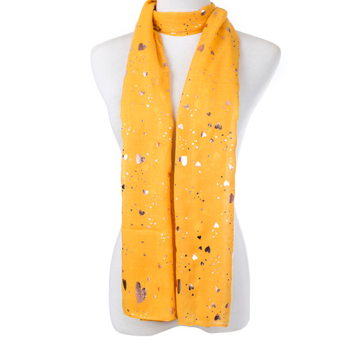 Yellow With Gold Love Hear Shape Foil Scarf SC8746