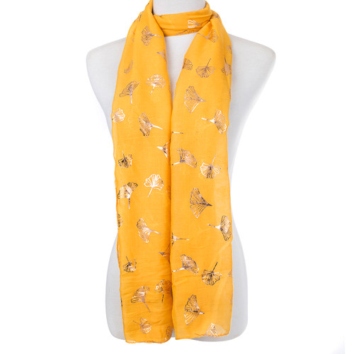 Yellow With Gold Broom Shape Foil Scarf SC8747