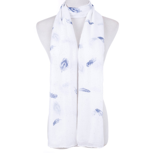 White Native Leaf Pattern Scarf SC8765