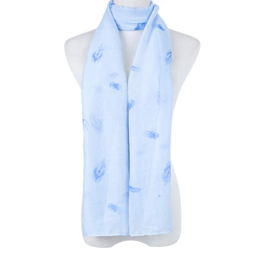 Blue Native Leaf Pattern Scarf SC8765