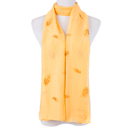 Yellow Native Leaf Pattern Scarf SC8765