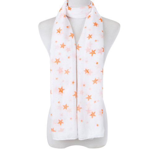 Orange Natural Sea Star Fish Scarf SC8766