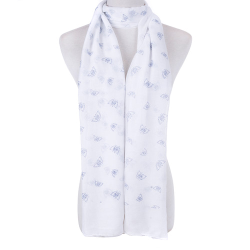 White Butterfly Scarf SC8769