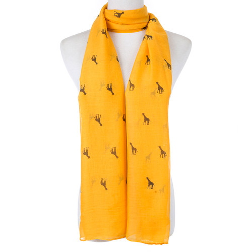 Yellow Cute Giraffe Print Scarf SC8772