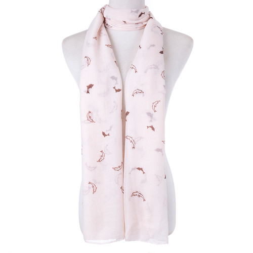 Beige Sea Animal Dolphin Print Scarf SC8773