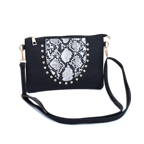 Black Gem Snake Skin With Diamond Clover Crossboday Bag B4669