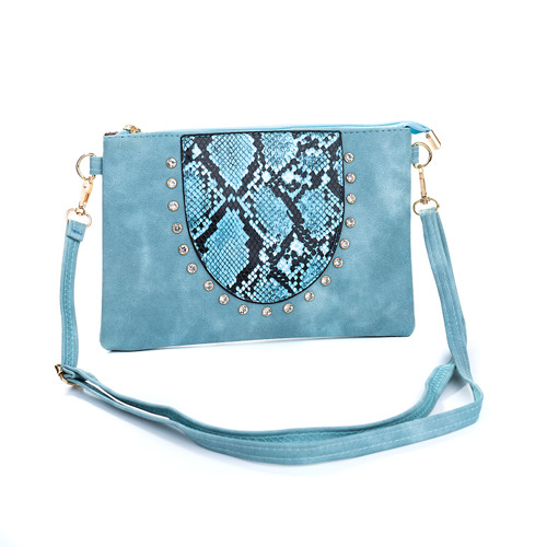 Blue Gem Snake Skin With Diamond Clover Crossboday Bag B4669