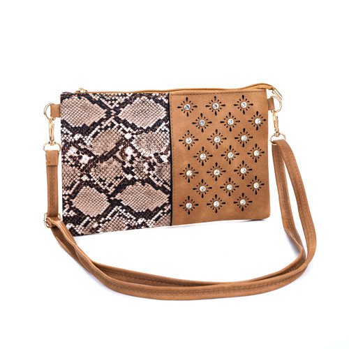 Sand Snake Skin Effect With Diamond Clover Crossboday Bag B4701