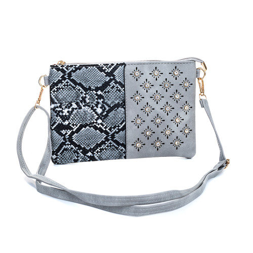 Grey Snake Skin Effect With Diamond Clover Crossboday Bag B4701