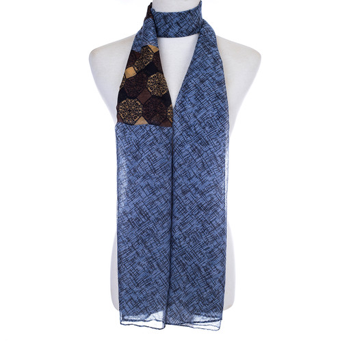 Navy Fuzzy Stripe Print Soft Light Summer Scarf SCX526