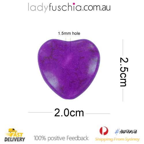 10 X Purple Heart Turquoise Beads