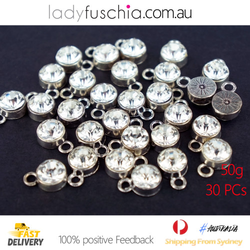 50G X Rhinestone Silver Plated Diamond Spacer Dangle Charms
