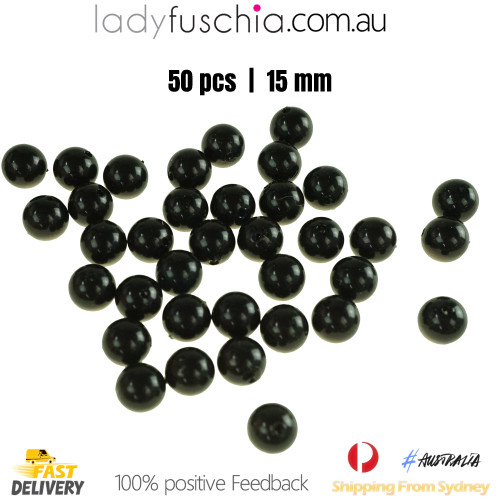 50PCs 15mm Black Round Shape Plastic Acrylic Bead Make Your Own Jewellery Craft