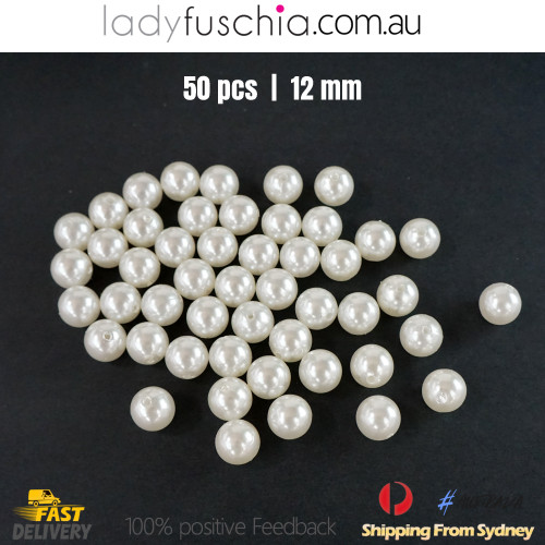 50PCs 12mm White Round Shape Plastic Acrylic Bead Make Your Own Jewellery Craft