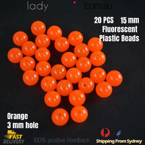 20PCs 15mm Orange Round Shape Plastic Acrylic Bead Make Your Own Jewellery Craft