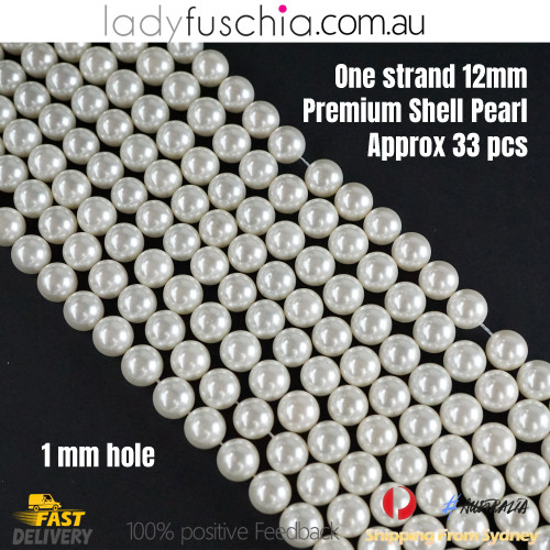 1 Strand 12mm White Round Natural Premium Shell Pearl Beads approx. 33 PCs