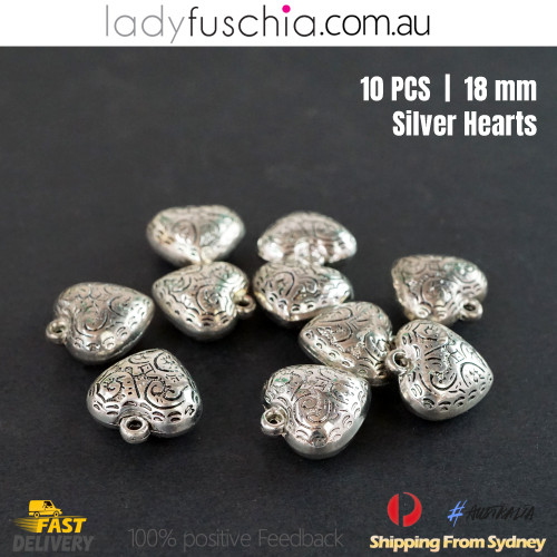 10PCs Silver Heart Shape Dangle Beads Craft Jewellery Bracelet Parts Charms