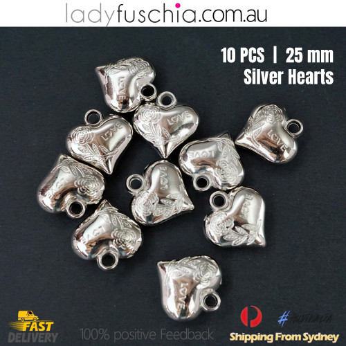 10PCs 25mm Silver Heart Shape Dangle Beads Craft Jewellery Bracelet Parts Charms
