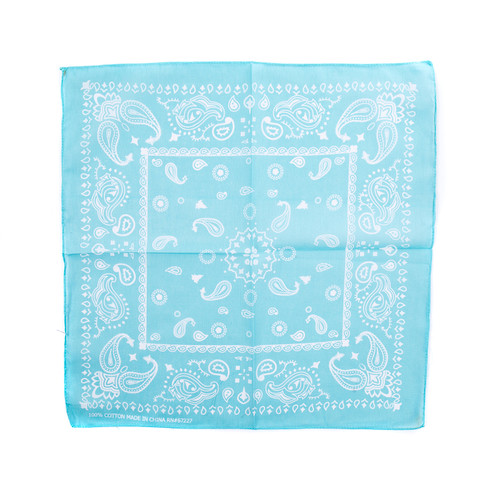 100% COTTON BANDANAS Paisley Square Head Scarf BPS060 L BLUE