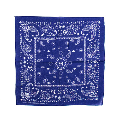100% COTTON BANDANAS Paisley Square Head Scarf BPS060 R BLUE