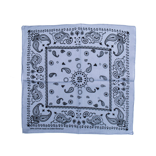 100% COTTON BANDANAS Paisley Square Head Scarf BPS061 GREY