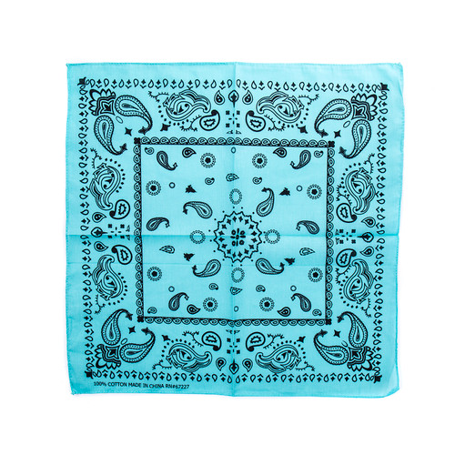 100% COTTON BANDANAS Paisley Square Head Scarf BPS061 L BLUE