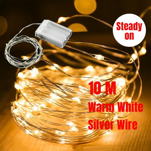 10M 100 LED Micro Bead Steady On Fairy Lights (Warm White)
