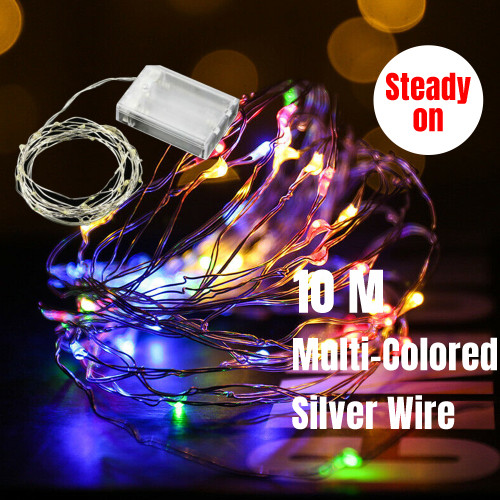 10M 100 LED Micro Bead Steady On Fairy Lights (Multi-coloured)