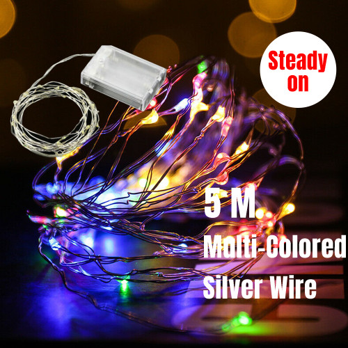 5M 50 LED Micro Bead Steady On Fairy Lights (Multi-coloured)