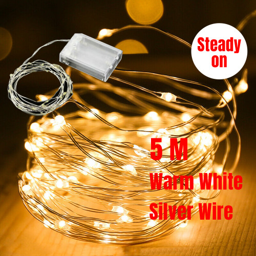 5M 50 LED Micro Bead Steady On Fairy Lights (Warm White)
