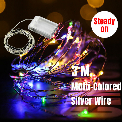 3M 30 LED Micro Bead Steady On Fairy Lights (Multi-coloured)